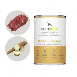 Hypoallergenes Nassfutter Hund Adult: 400g Pferd + Cassava mit Mariendistel